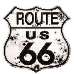 Deurstickers Route 66 Old rusted Route 66 Sign