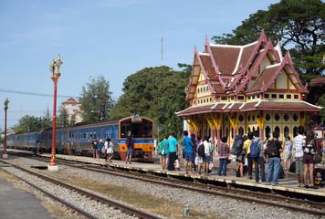 Hau hin Thailand - January 01 :Many passengers are waiting for a train to continue the journey on January 01, 2016 at Hua hin Railway station, Prachuap Khiri Khan, Thailand.