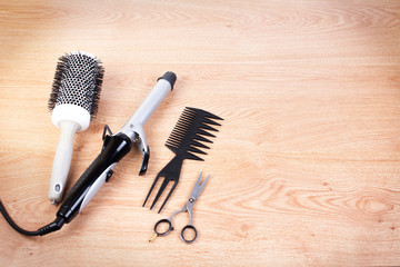 Hairdressing tools on copy space.