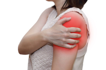 woman grab her shoulder with r pain
