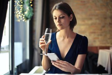Businesswoman at the restaurant