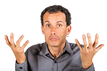 Portrait of confused man giving I don't know gesture on white background