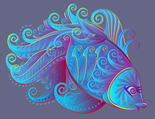 Illustration of fantastic fairyland fish, vector cartoon image.