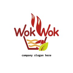 Vector of noodle icon. Wok. Asian frying pan. Symbols icon or logo for restaurant. Other companies. Vector illustration.