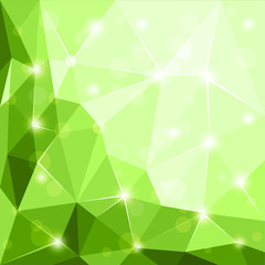 Abstract polygonal geometric faset shiny green background wallpaper illustration