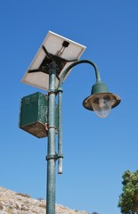 A solar powered street lamp at Emborio on the Greek island of Halki.