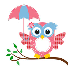 owl funny girl and umbrella on a branch