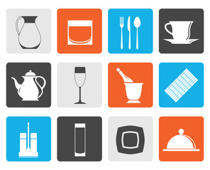 Flat restaurant, cafe, bar and night club icons - vector icon set