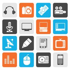 Flat Media equipment icons - vector icon set