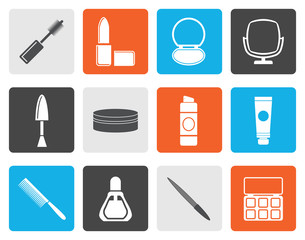 Flat cosmetic and make up icons - vector icon set