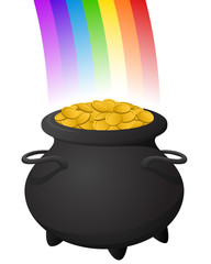 Vector illustration of a pot of gold at the end of a rainbow.