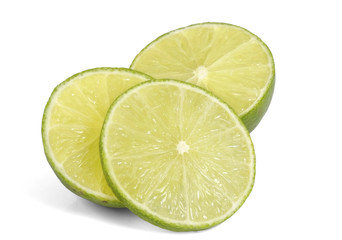 Slice of fresh lime / Slice of fresh lime on white background.
