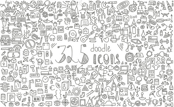 325 doodle icons.business, finance, science, tourism and travel, food and more.