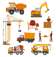 Building under construction, workers and construction technic vector illustration