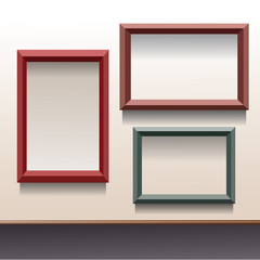 Three vector frames in different colors