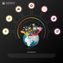 Infographic design template. Creative world. Colorful circle with icons. Vector
