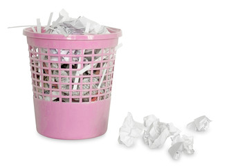 Plastic trash bin / Plastic trash bin with paper on white background.