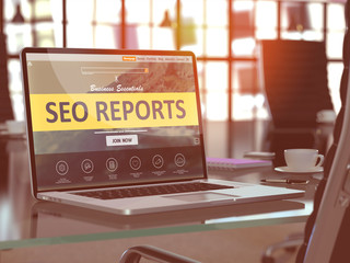 SEO Reports Concept on Laptop Screen.