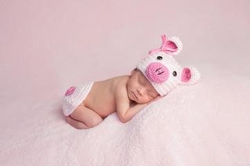 Newborn Baby Girl Wearing Piglet Costume