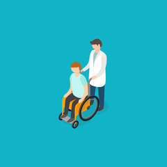 Disabled people help concept. Isometric 3d vector