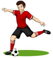 Vector illustration of a cartoon soccer player.