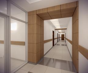 3D rendering corridor of ofice building
