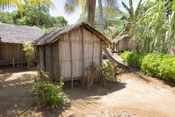 Wooden hut village in tropical Madagascar