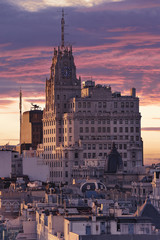 Panoramic aerial view of Madrid, Spain at sunset.