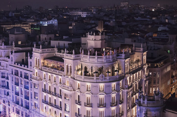 Panoramic aerial view of Madrid, Spain at night.