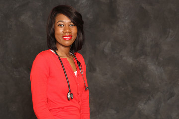Portrait young attractive African American female health care professional