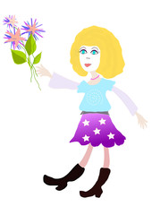 Young woman with flowers, drawing