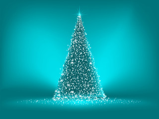 Abstract green christmas blue on blue. EPS 8
