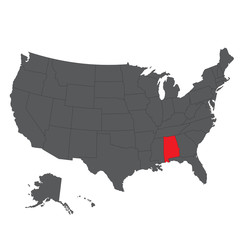 Alabama red map on gray USA map vector