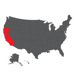 California red map on gray USA map vector