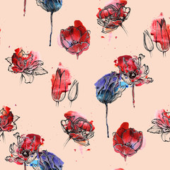 Seamless floral pattern, hand drawn tulips on blue and red watercolor splash. Isolated on coral pink background. Fabric texture. Wallpaper.