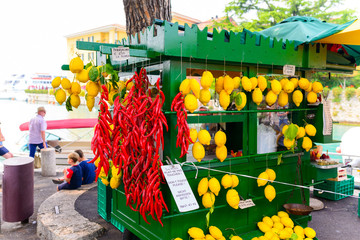 shop with fresh lemons and peppers