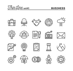 Business, entrepreneurship, teamwork, goals and more, thin line icons set