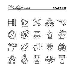 Start up business, strategy, marketing, finance and more, thin line icons set