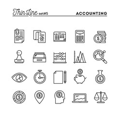 Accounting, business statistics, time, money management and more, thin line icons set