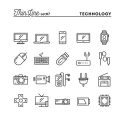 Technology, devices, gadgets and more, thin line icons set