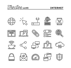 Internet, global network, cloud computing, free WiFi and more, thin line icons set