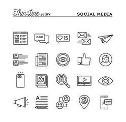 Social media, communication, personal profile, online posting and more, thin line icons set