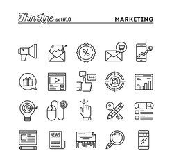 Digital marketing, online business, target audience, pay per click and more, thin line icons set