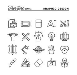Graphic design, creative package, stationary, software and more, thin line icons set