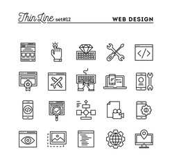 Web design, coding, responsive, app development and more, thin line icons set