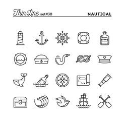 Nautical, sailing, sea animals, marine and more, thin line icons set