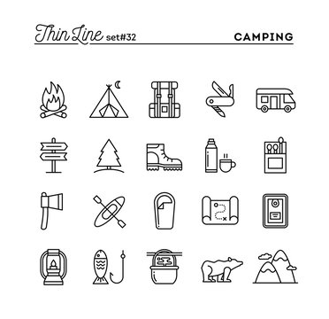 Camping, hiking, wilderness, adventure and more, thin line icons set