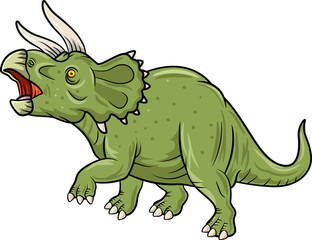 Cute Triceratops three horned dinosaur isolated on white background