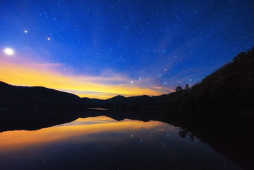 night sky, star trails and reflect