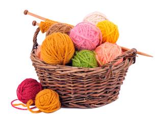 Basket with yarn